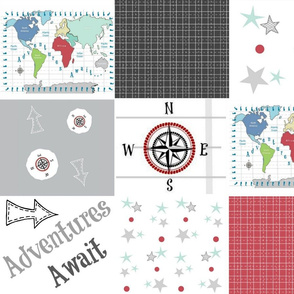 Adventures Await 42- black red - wholecloth quilt