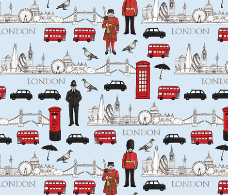 London Skyline and Icons fabric by hazel_fisher_creations on Spoonflower - custom fabric