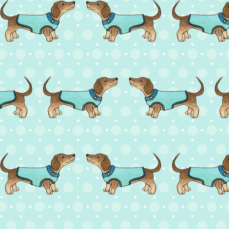 Dachshunds in coats on blue fabric by hazelfishercreations on Spoonflower - custom fabric