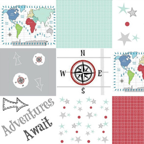 Adventures Await 42- seafoam red - wholecloth quilt