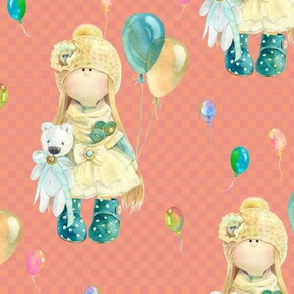 MEDIUM WATERCOLOR DOLL AND BALLOONS ON CORAL GINGHAM