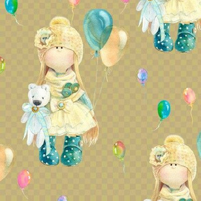 MEDIUM WATERCOLOR DOLL AND BALLOONS ON HAZELNUT BEIGE GINGHAM