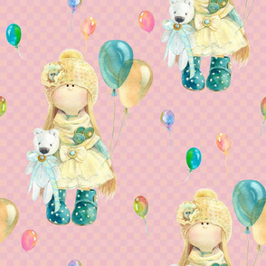 LARGE WATERCOLOR DOLL AND BALLOONS ON BABY PINK GINGHAM