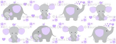 Elephant Purple Lavender Floral Girl Nursery