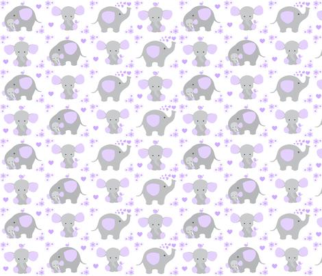 Elephant Purple Lavender Floral Girl Nursery  fabric by decamp_studios on Spoonflower - custom fabric