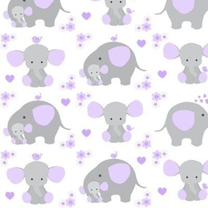 Elephant Purple Lavender Floral Girl Nursery