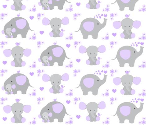 Elephant purple lavender floral girl nursery fabric for Purple nursery fabric