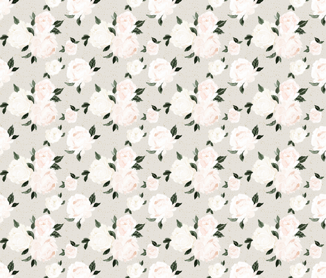vintage blush floral S - gray fabric by crystal_walen on Spoonflower - custom fabric
