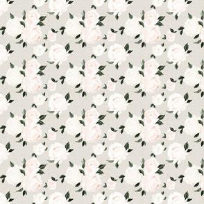 vintage blush floral S - gray