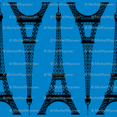 Six Inch Black Eiffel Tower on Turquoise Blue