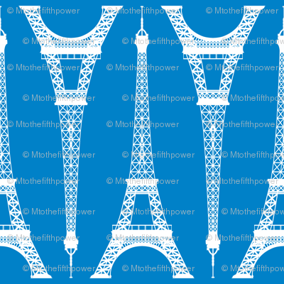 Twelve Inch White Eiffel Tower on Turquoise Blue