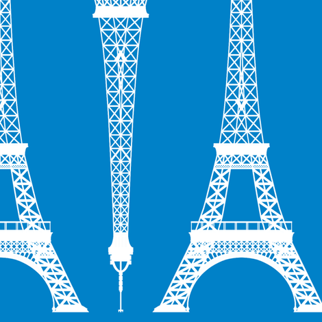 Twelve Inch White Eiffel Tower on Turquoise Blue fabric by mtothefifthpower on Spoonflower - custom fabric