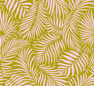 palm leaves __ olive   pink __ tropical design for beach and swim