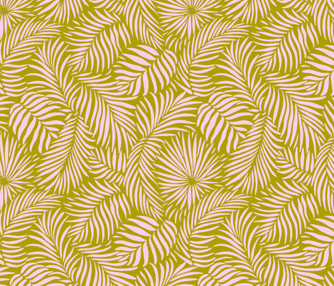 palm leaves __ olive   pink __ tropical design for beach and swim fabric by paisleypower on Spoonflower - custom fabric