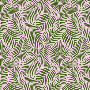palm leaves __ pink   green __ tropical design for beach and swim