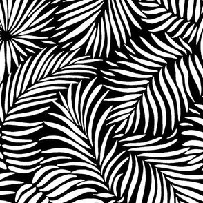 palm leaves __ black   white __ tropical design for beach and swim