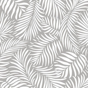 palm leaves __ grey   white __ tropical design for beach and swim