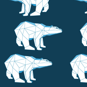 geometric polar bear in blue