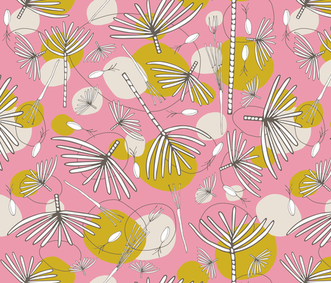 Fronds & Pods MUSTARD fabric by kathyjuriss on Spoonflower - custom fabric