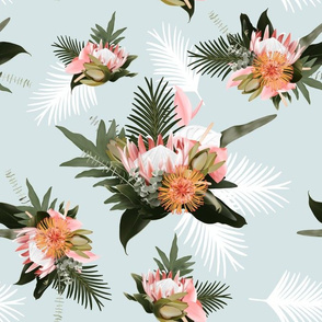 Tropical Leaves Floral on Blue