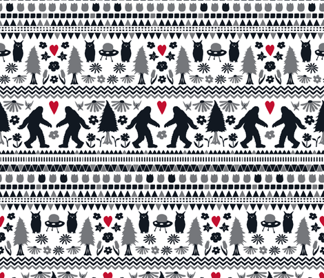 Yeti Folk Hygge fabric by onelittleprintshop on Spoonflower - custom fabric