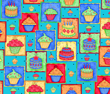 Cupcake Cake Patch Teal fabric by phyllisdobbs on Spoonflower - custom fabric