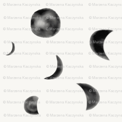 Moon phases - watercolor moon black and white