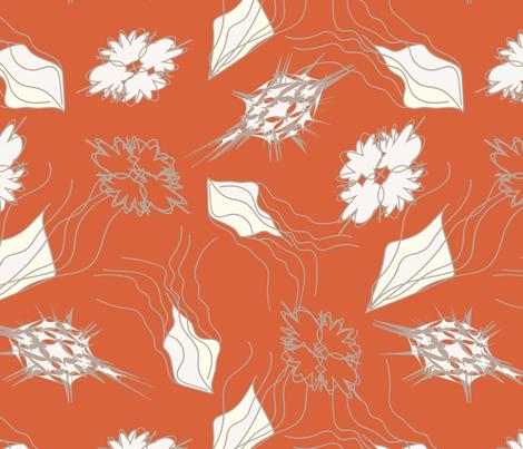 Fantasy-Flowers-Orange fabric by oona2707 on Spoonflower - custom fabric