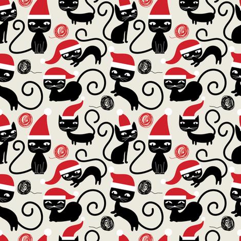 Santa Kitties  fabric by bestgoodlife on Spoonflower - custom fabric