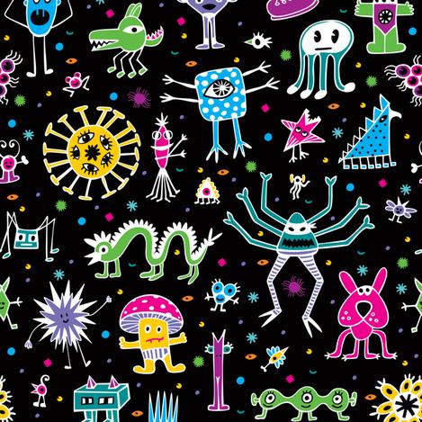 Cute Monsters fabric by bestgoodlife on Spoonflower - custom fabric