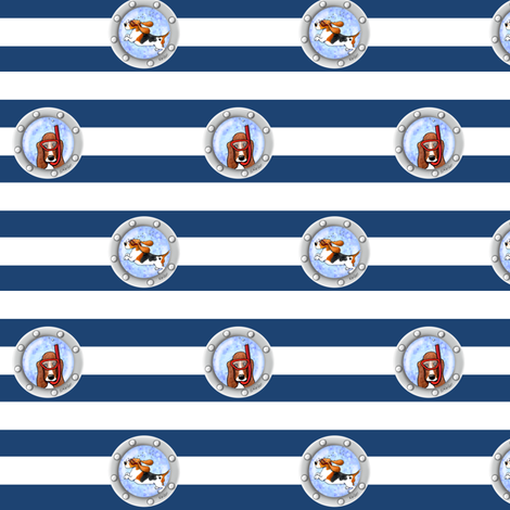 KiniArt Snorkel Bassets fabric by kiniart on Spoonflower - custom fabric