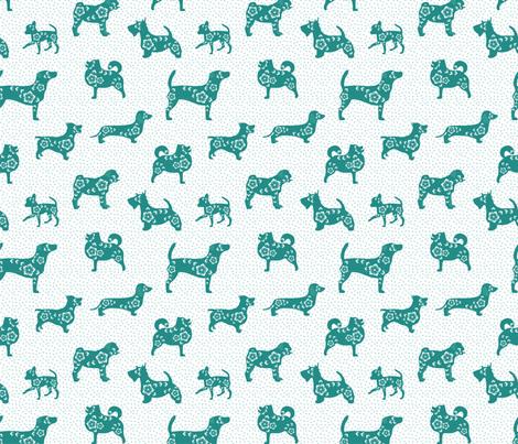 Lucky Dog - Teal fabric by molipop on Spoonflower - custom fabric