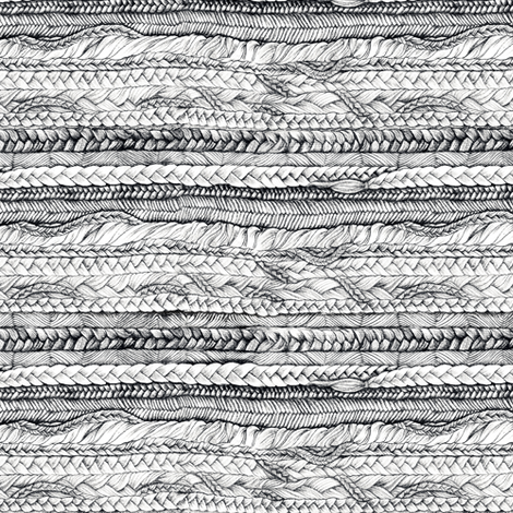 Braided, Black and White, Railroaded fabric by thistleandfox on Spoonflower - custom fabric