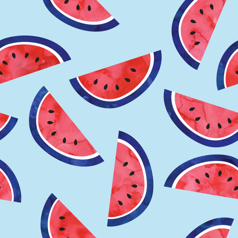 watercolor watermelon on blue - July 4th - red white and blue fabric fabric by littlearrowdesign on Spoonflower - custom fabric