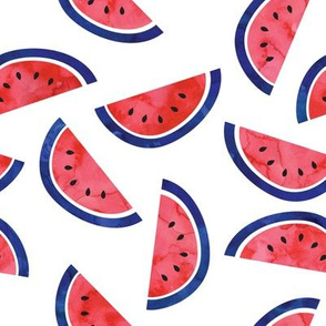 watercolor watermelon - red white and blue - July 4th