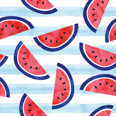watercolor watermelon on blue stripes - red white and blue - July 4th fabric fabric by littlearrowdesign on Spoonflower - custom fabric