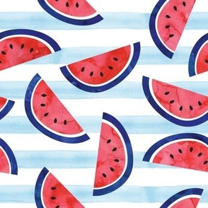watercolor watermelon on blue stripes - red white and blue - July 4th fabric