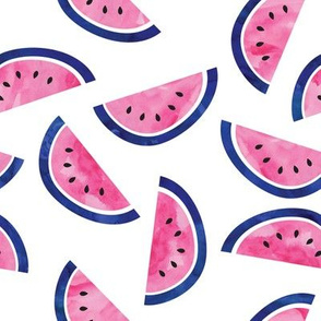 watercolor watermelons - pink and blue