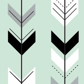 fletching arrows - black, grey, white on mint