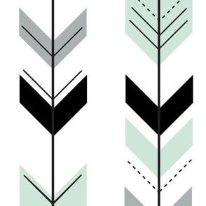fletching arrows - black, grey, mint