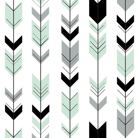 (small scale) fletching arrows - black, grey, mint fabric by littlearrowdesign on Spoonflower - custom fabric