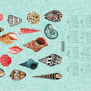 2020 shells tea towel calendar - shells by andrea lauren