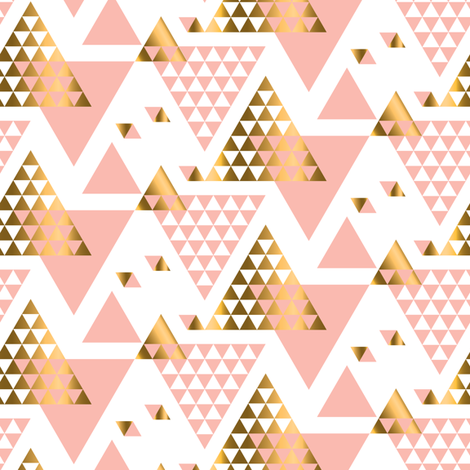 Pink & Gold Triangles  fabric by bestgoodlife on Spoonflower - custom fabric