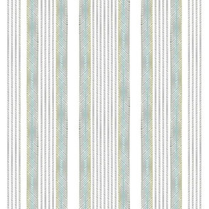 Classic French Ticking aqua and gray