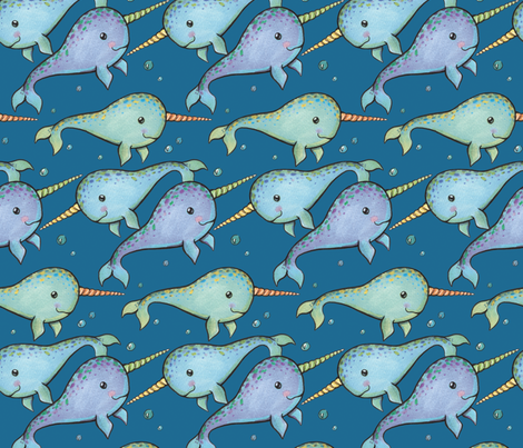 Narwhals fabric by charladraws on Spoonflower - custom fabric