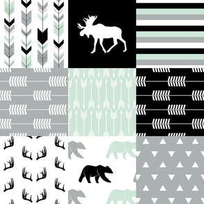 woodland patchwork - bear and moose - black grey mint