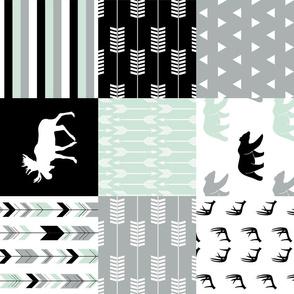 woodland patchwork - bear and moose - black grey mint  (90)