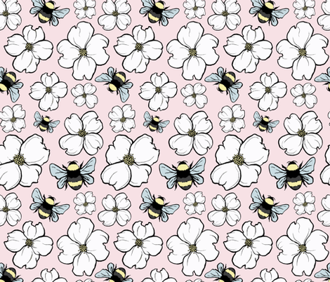 Dogwood Blooms + Bumblebees fabric by charladraws on Spoonflower - custom fabric