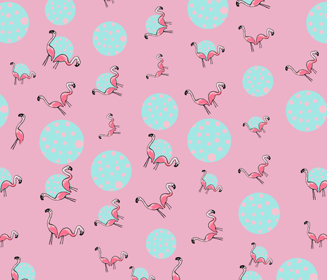 Flamingo Bubble Party fabric by veata_atticus_store on Spoonflower - custom fabric