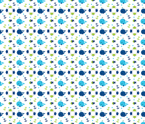 Whales and Anchors Green fabric by snapdragonandfinn on Spoonflower - custom fabric